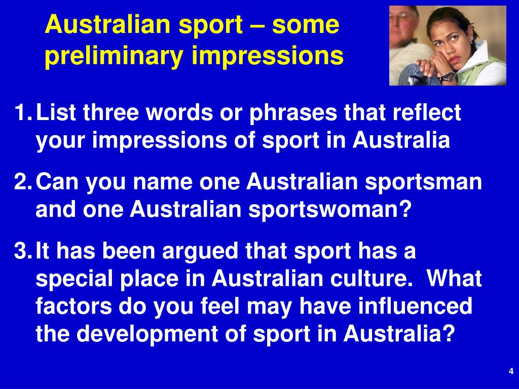 Australian sport – some preliminary impressions
