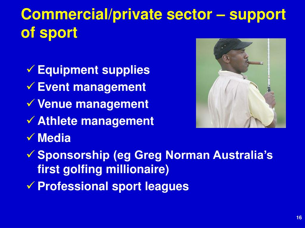 Commercial/private sector – support of sport