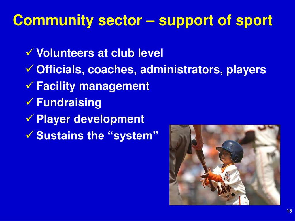 Community sector – support of sport
