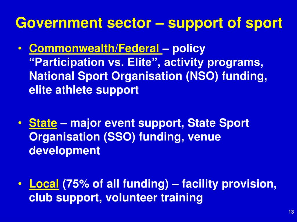 Government sector – support of sport