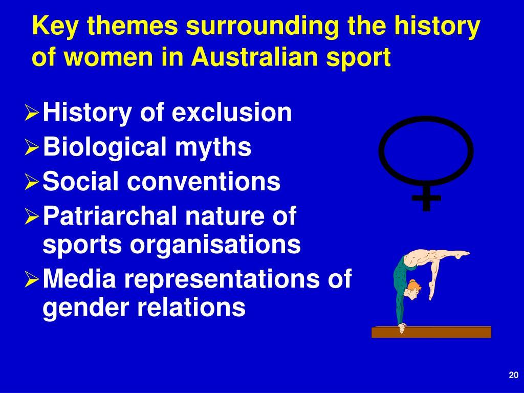 Key themes surrounding the history of women in Australian sport