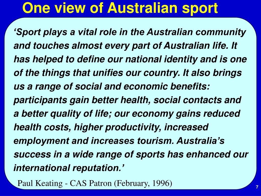 One view of Australian sport