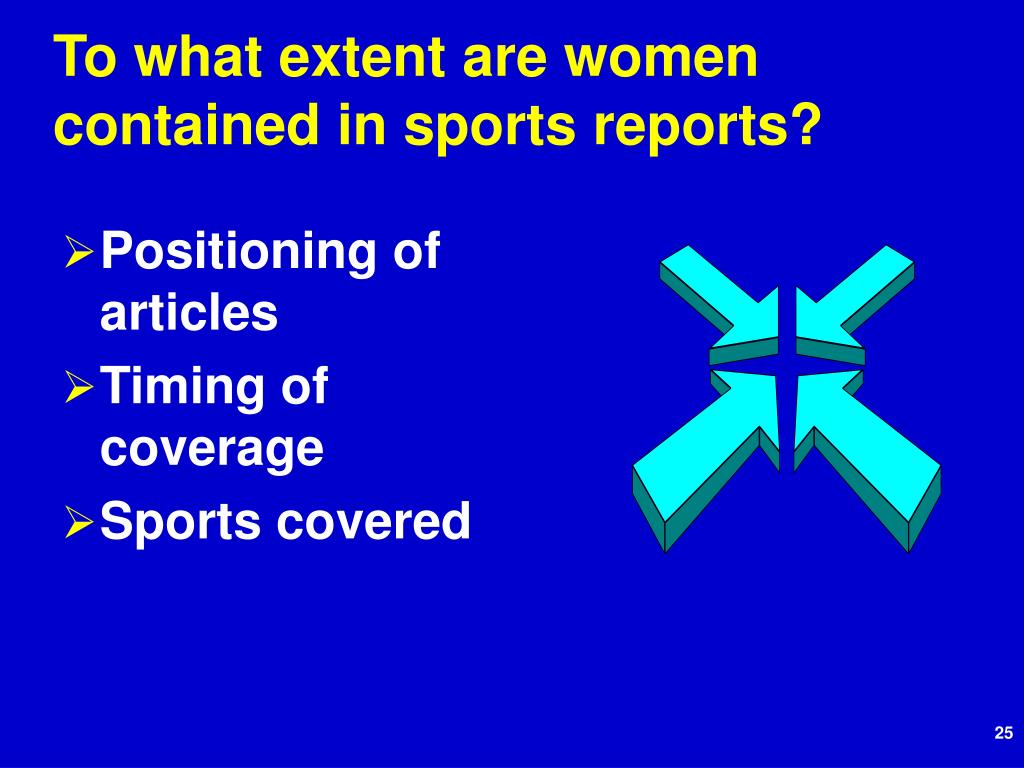 To what extent are women contained in sports reports?