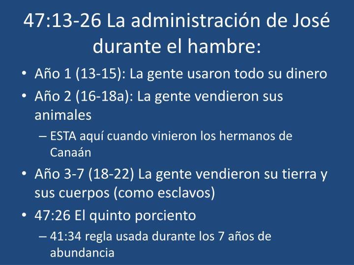 47:13-26 La administración de José durante el hambre: