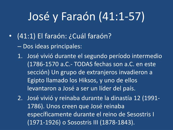 José y Faraón (41:1-57)
