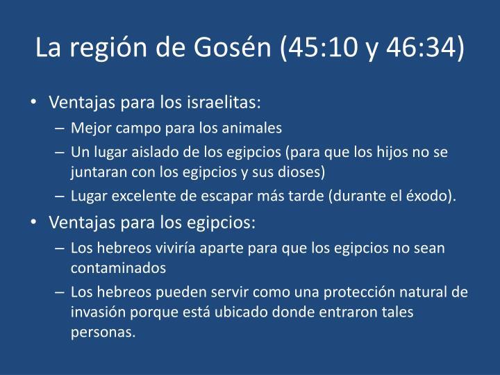 La región de Gosén (45:10 y 46:34)