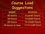 course load suggestions