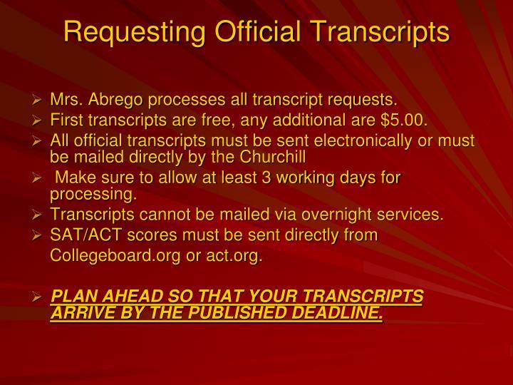 Requesting Official Transcripts