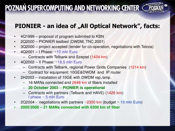 "PIONIER - an idea of ""All Optical Network"", facts:"