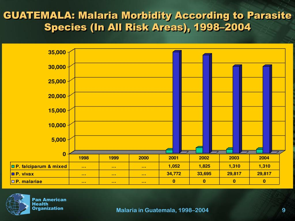 GUATEMALA: Malaria Morbidity According to Parasite Species (In All Risk Areas), 1998–2004