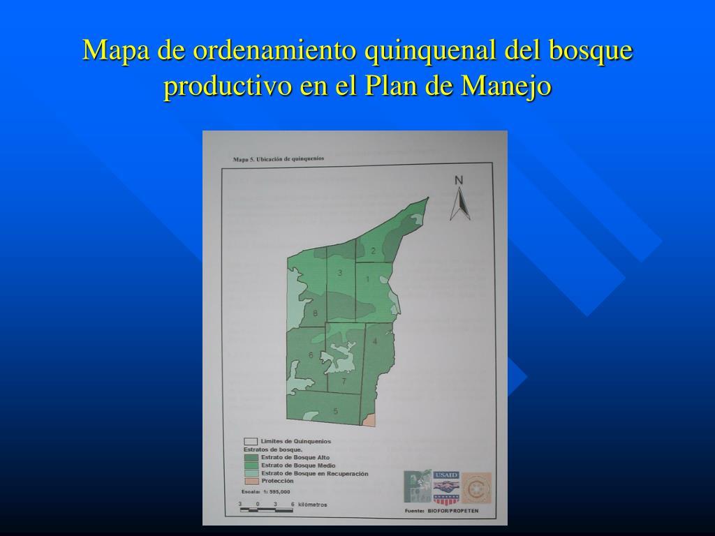 Mapa de ordenamiento quinquenal del bosque productivo en el Plan de Manejo