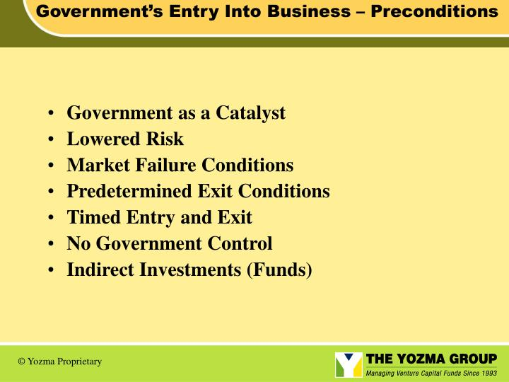 Government's Entry Into Business – Preconditions