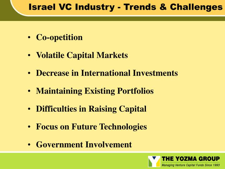 Israel VC Industry - Trends & Challenges