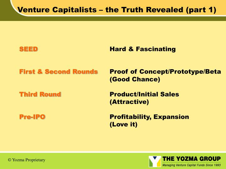 Venture Capitalists – the Truth Revealed (part 1)