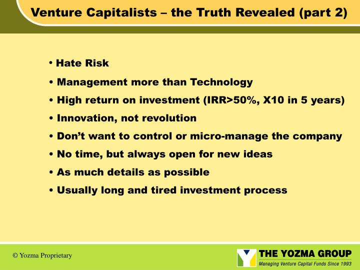 Venture Capitalists – the Truth Revealed (part 2)