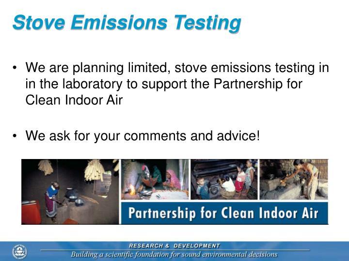 Stove Emissions Testing