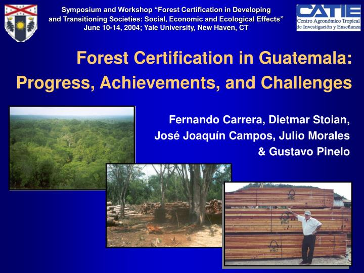 Forest certification in guatemala progress achievements and challenges