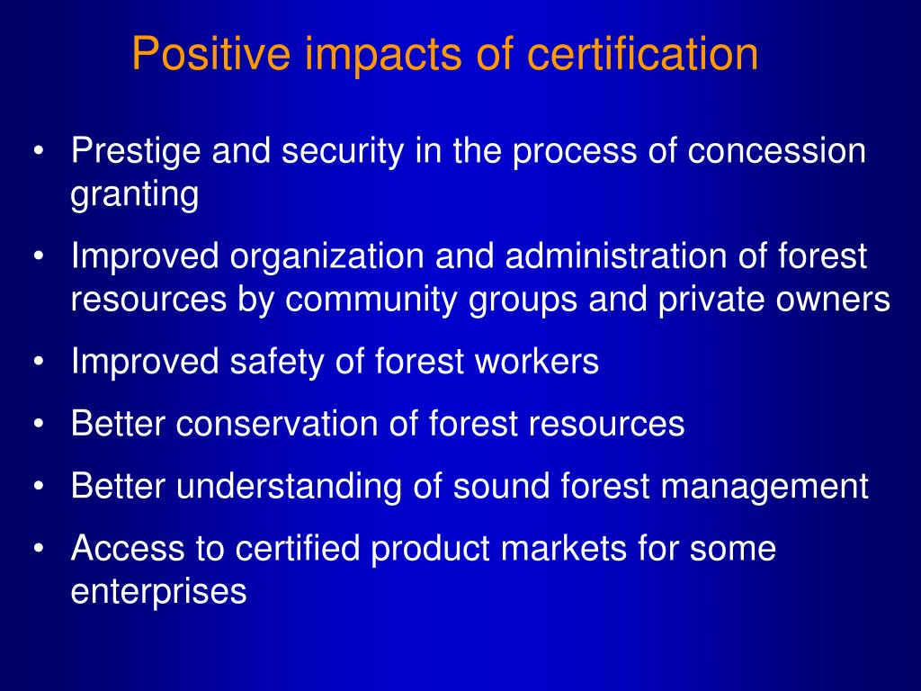 Positive impacts of certification