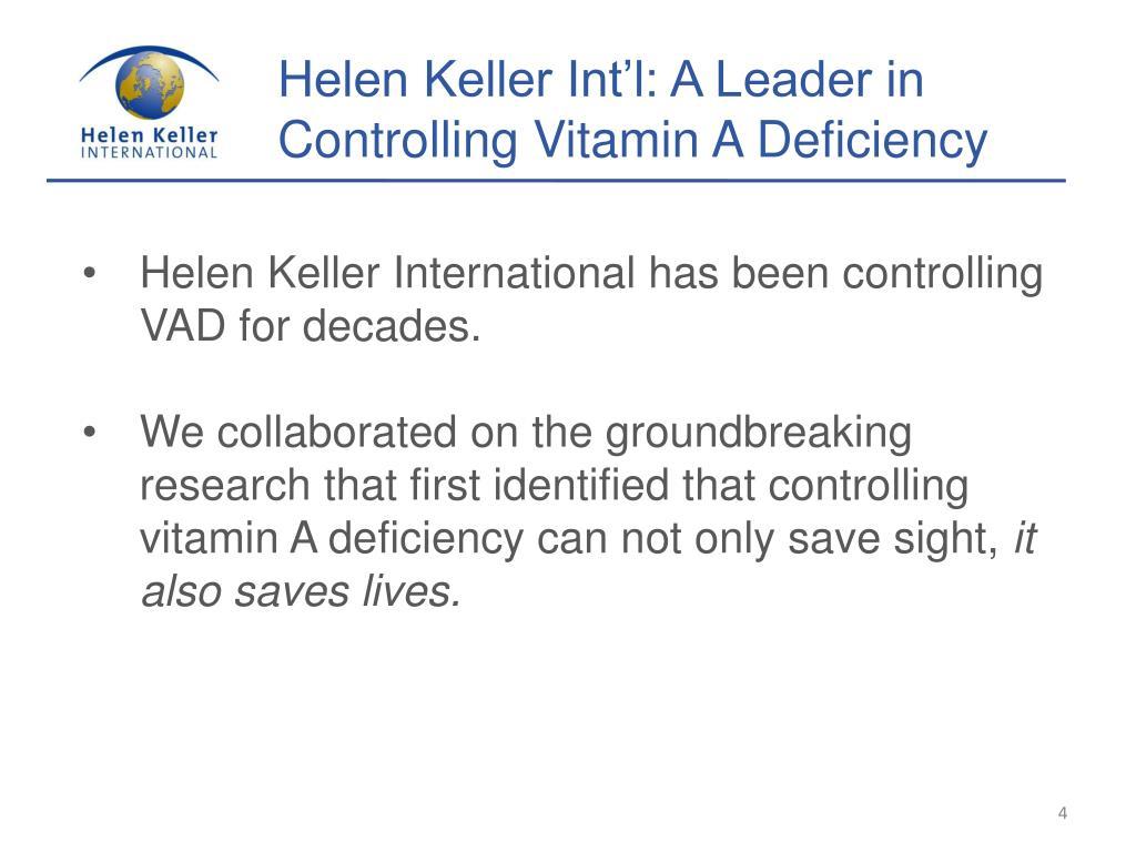 Helen Keller Int'l: A Leader in Controlling Vitamin A Deficiency