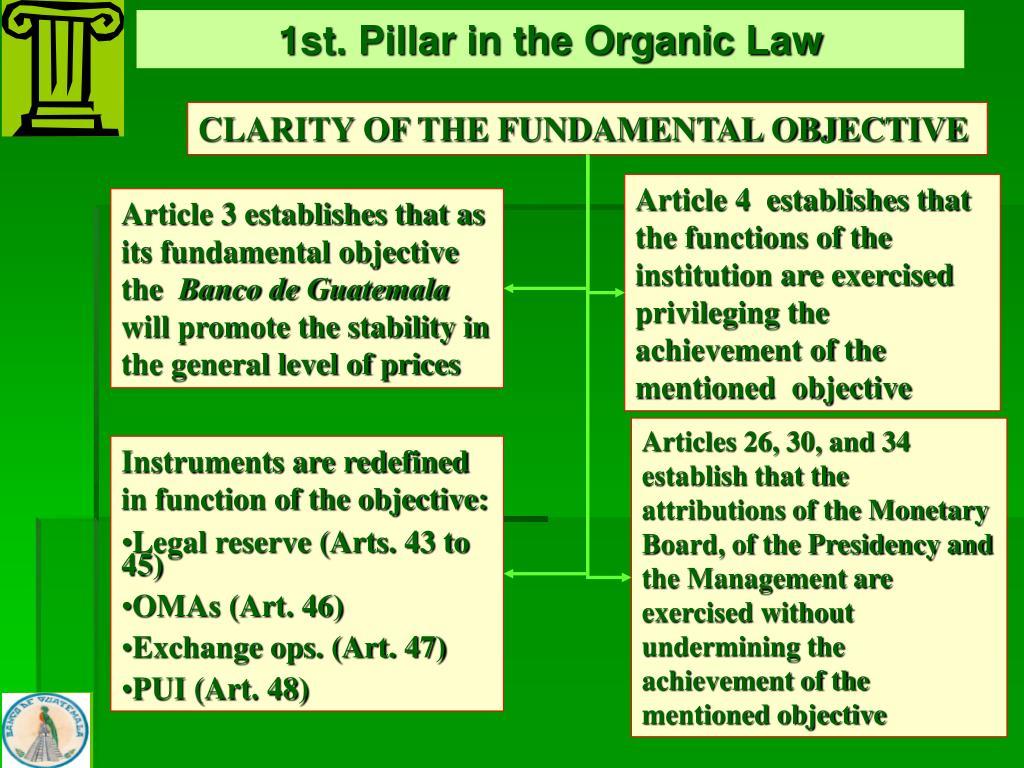 1st. Pillar in the Organic Law