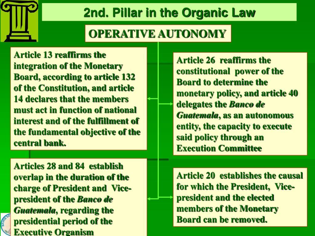 2nd. Pillar in the Organic Law