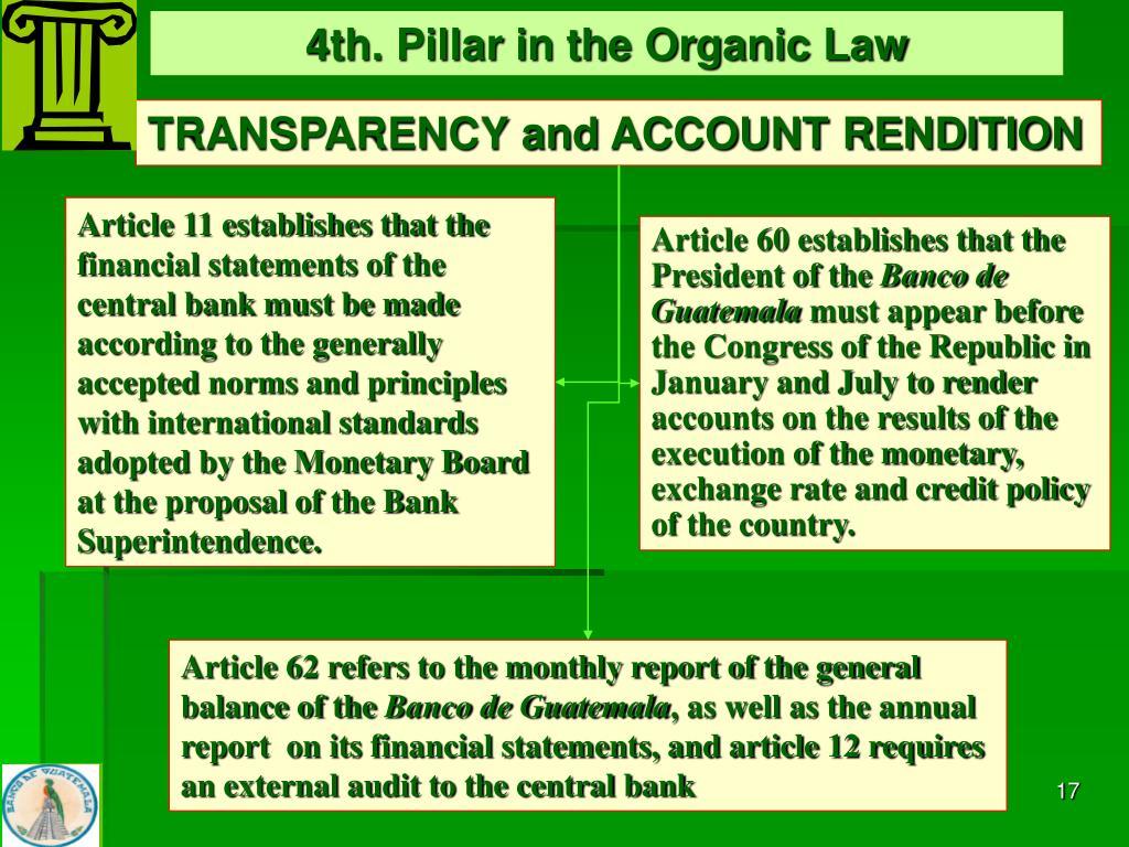 4th. Pillar in the Organic Law