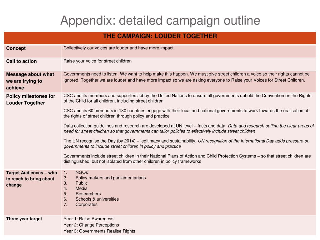Appendix: detailed campaign outline