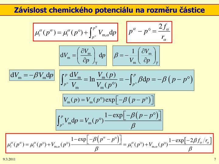 Závislost chemického potenciálu na rozměru částice