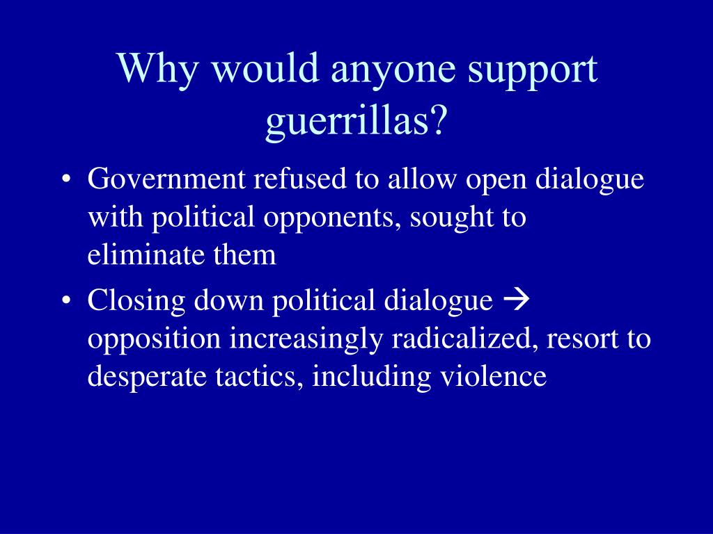 Why would anyone support guerrillas?
