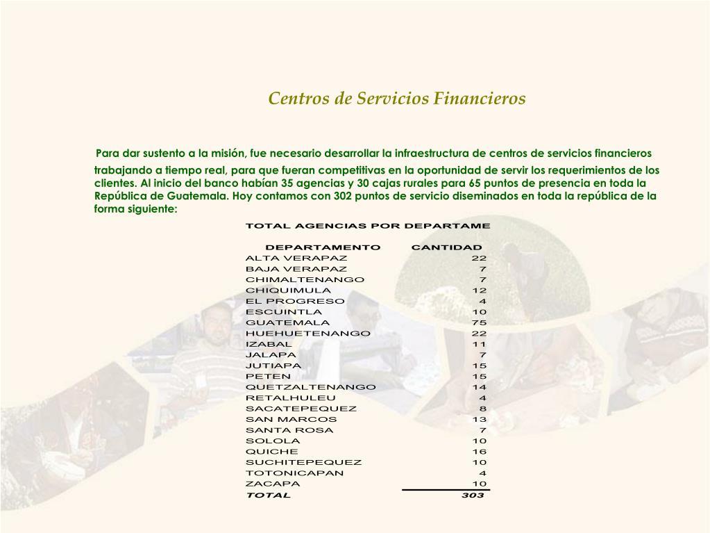 Centros de Servicios Financieros