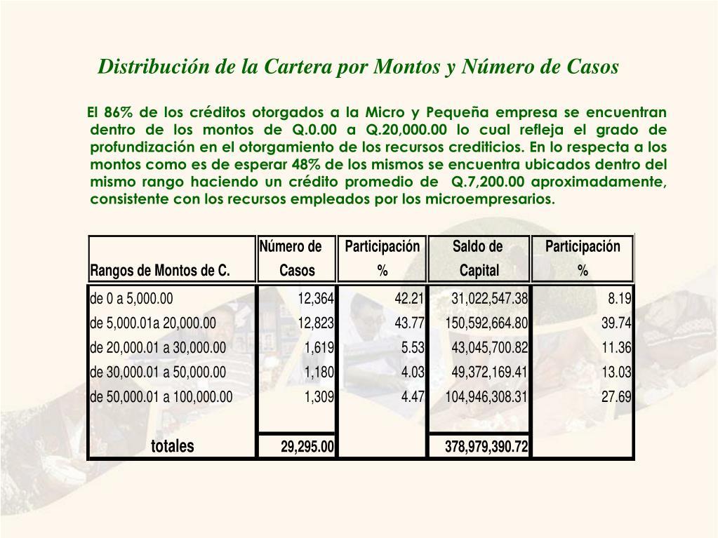 Distribución de la Cartera por Montos y Número de Casos