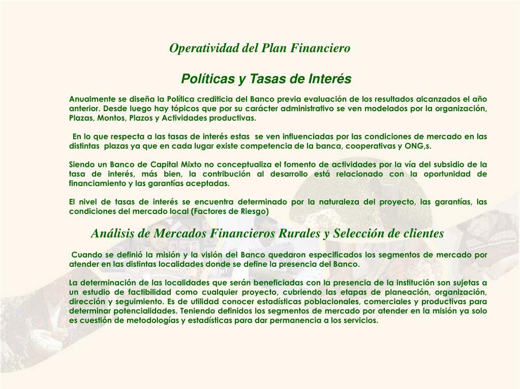 Operatividad del Plan Financiero