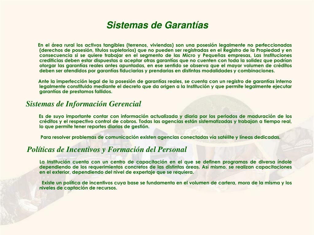 Sistemas de Garantías
