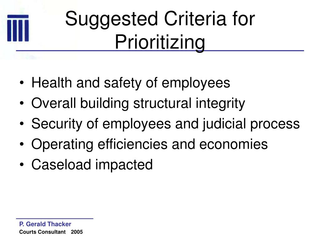 Suggested Criteria for Prioritizing