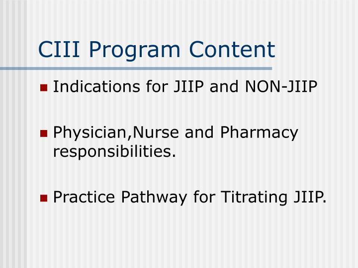 CIII Program Content