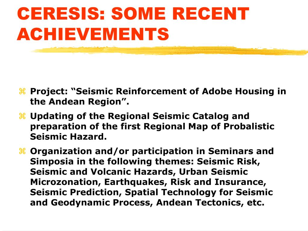 CERESIS: SOME RECENT ACHIEVEMENTS
