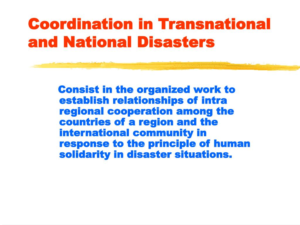 Coordination in Transnational and National Disasters