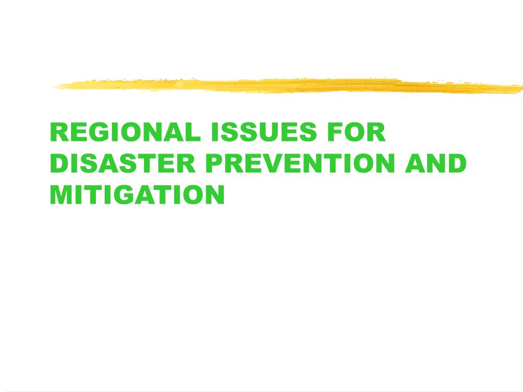 REGIONAL ISSUES FOR DISASTER PREVENTION AND MITIGATION