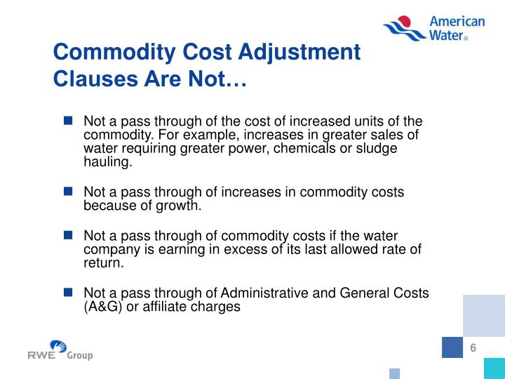 Commodity Cost Adjustment
