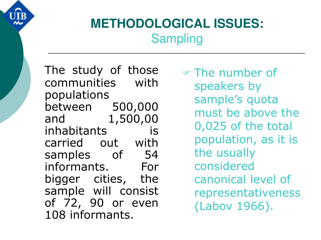 The study of those communities with populations between 500,000 and 1,500,00 inhabitants is carried out with samples of 54 informants.
