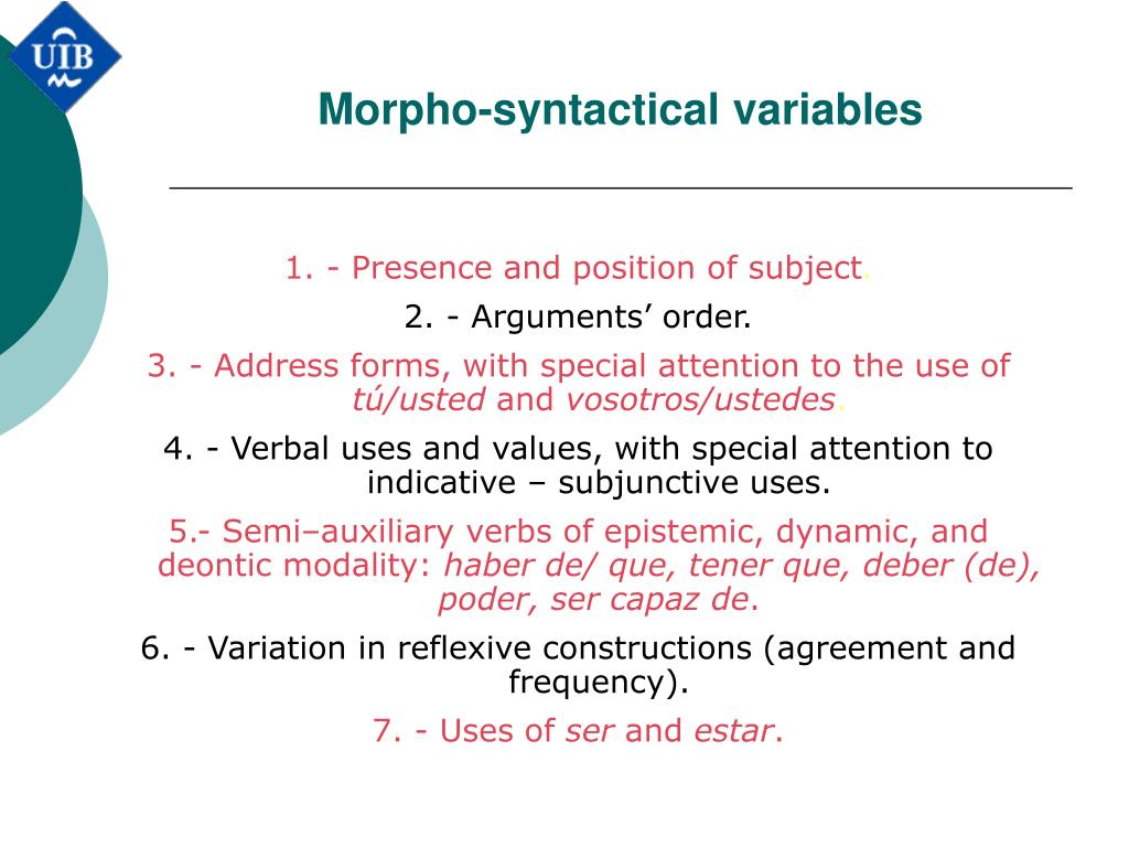 Morpho-syntactical variables