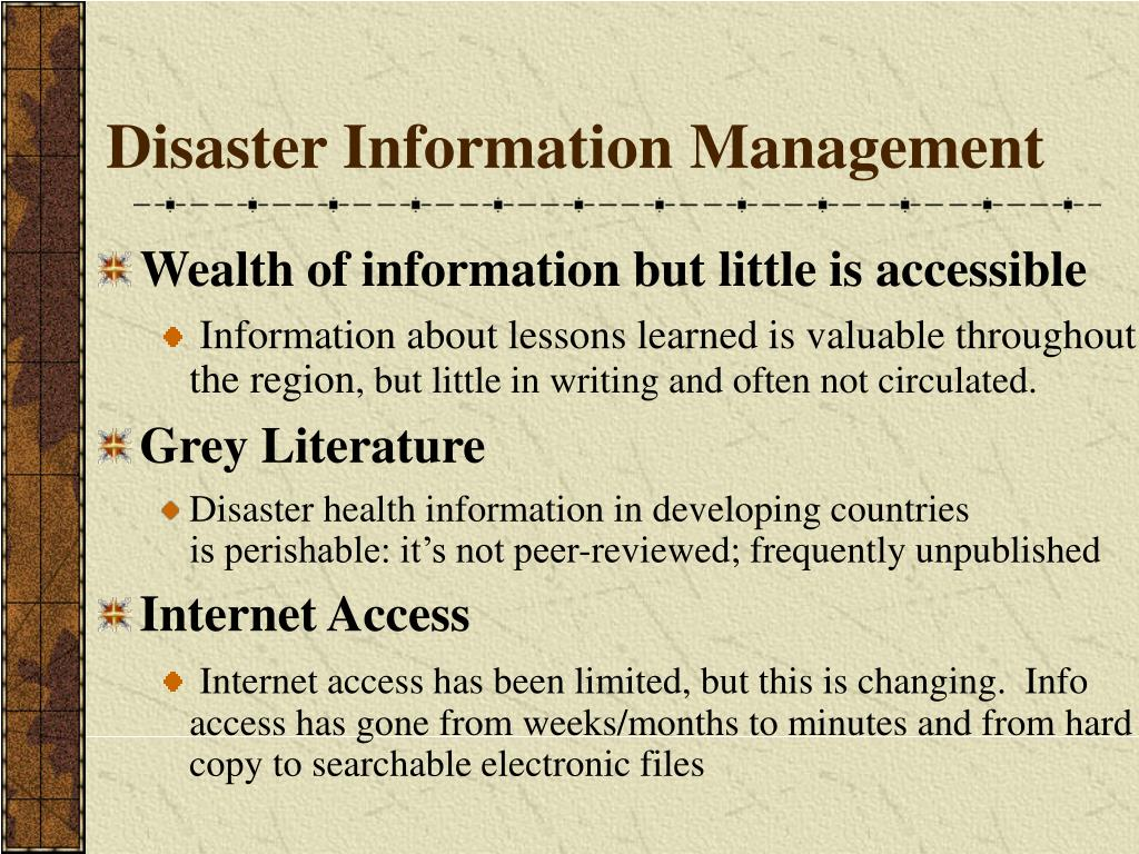 Disaster Information Management