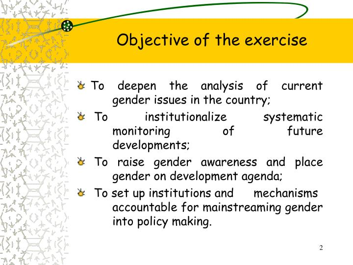 Objective of the exercise