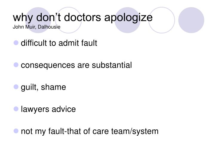 why don't doctors apologize