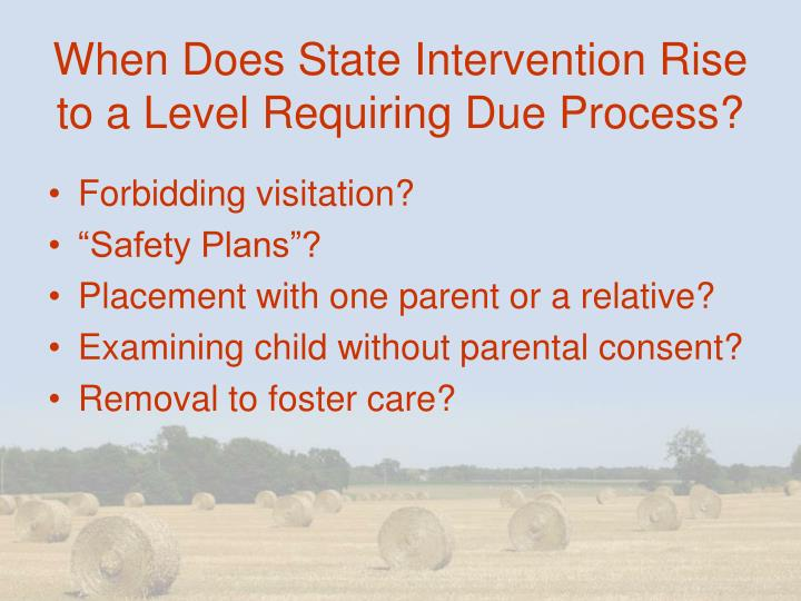 When Does State Intervention Rise to a Level Requiring Due Process?