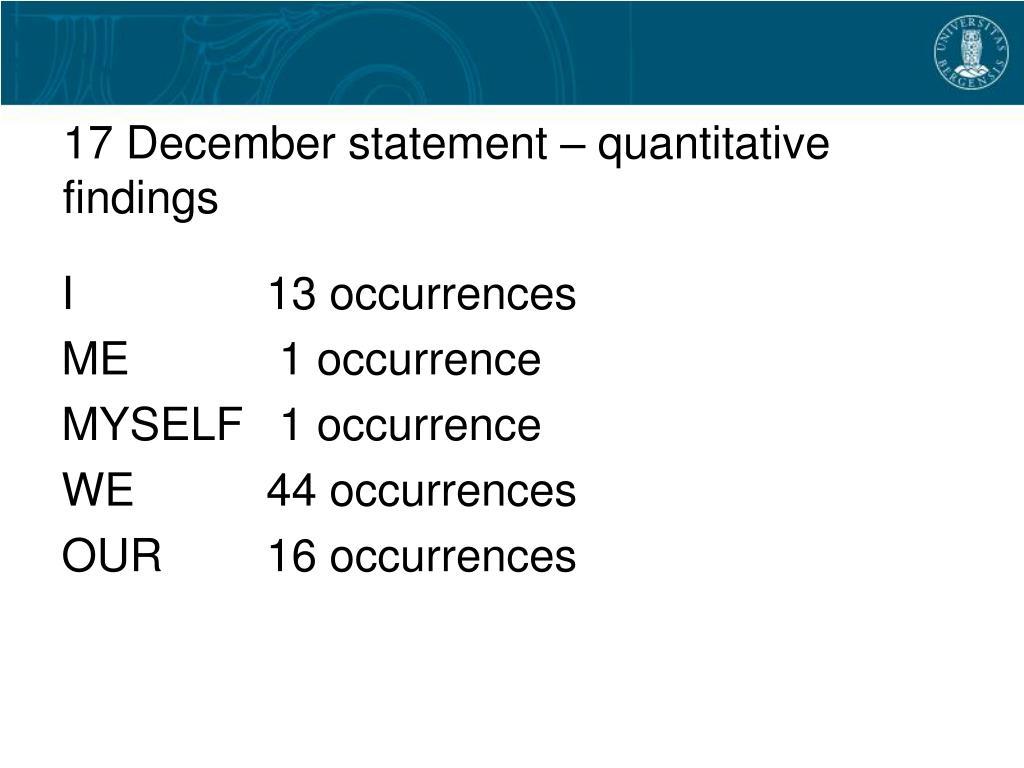 17 December statement – quantitative findings