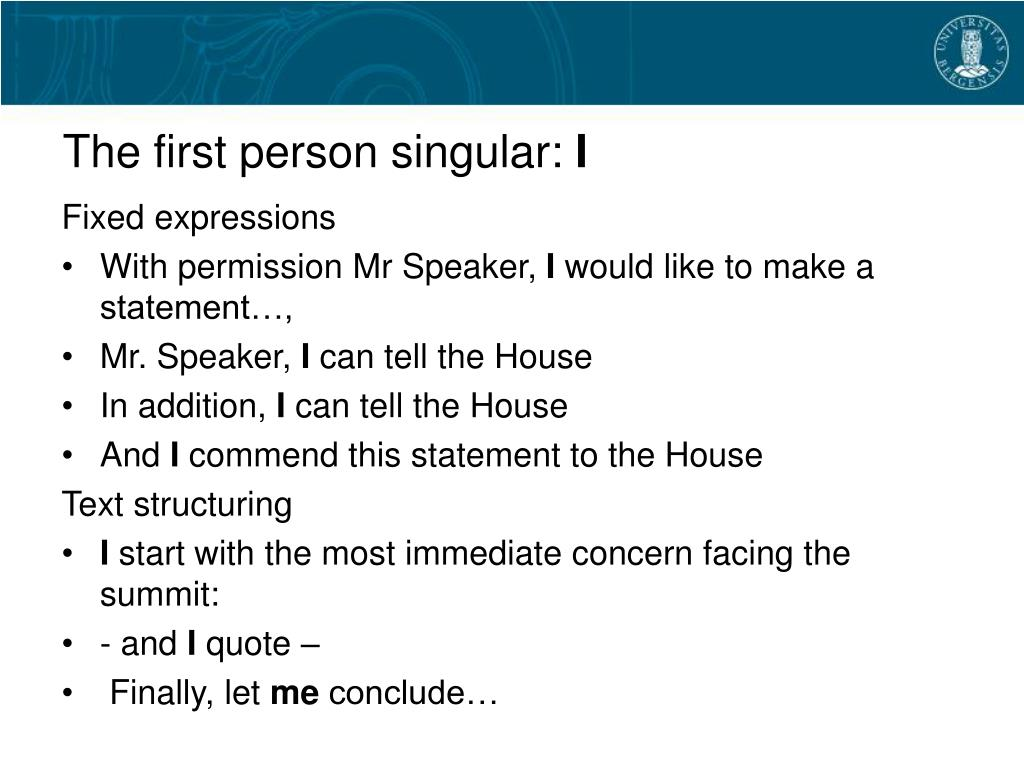 The first person singular: