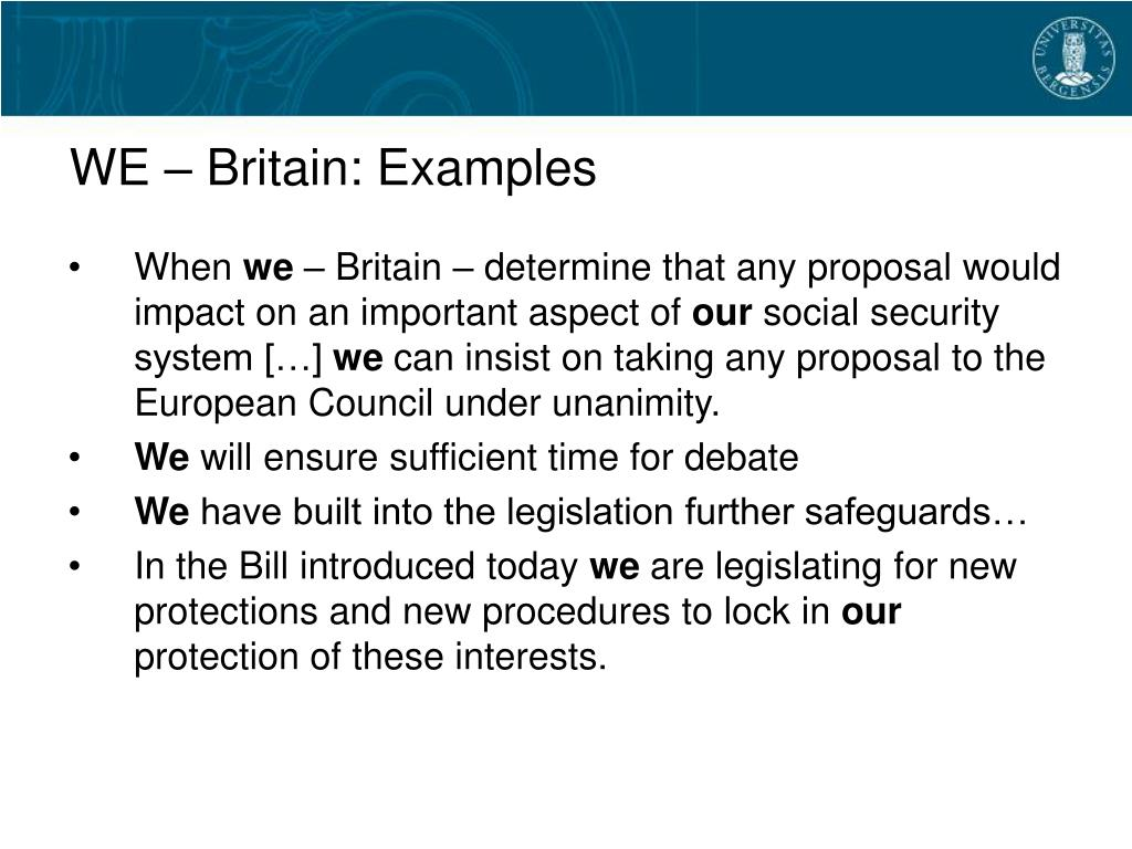 WE – Britain: Examples