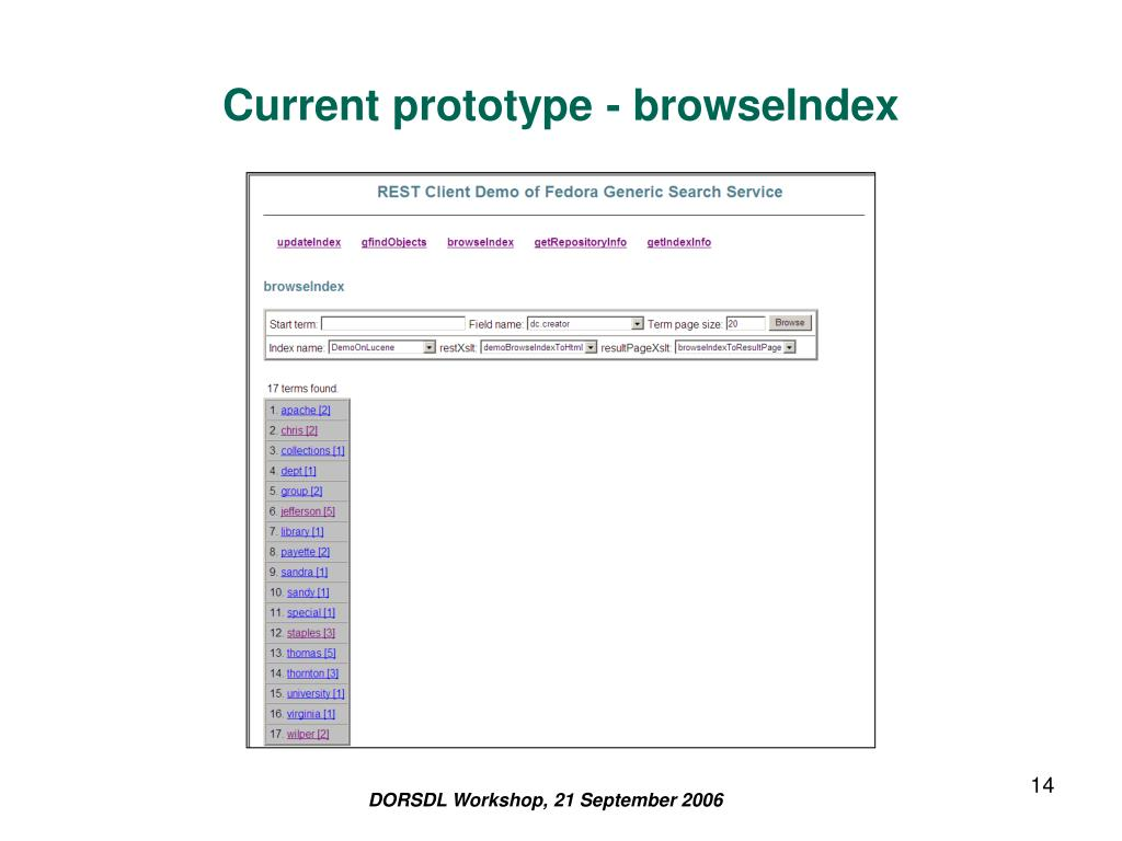 Current prototype - browseIndex