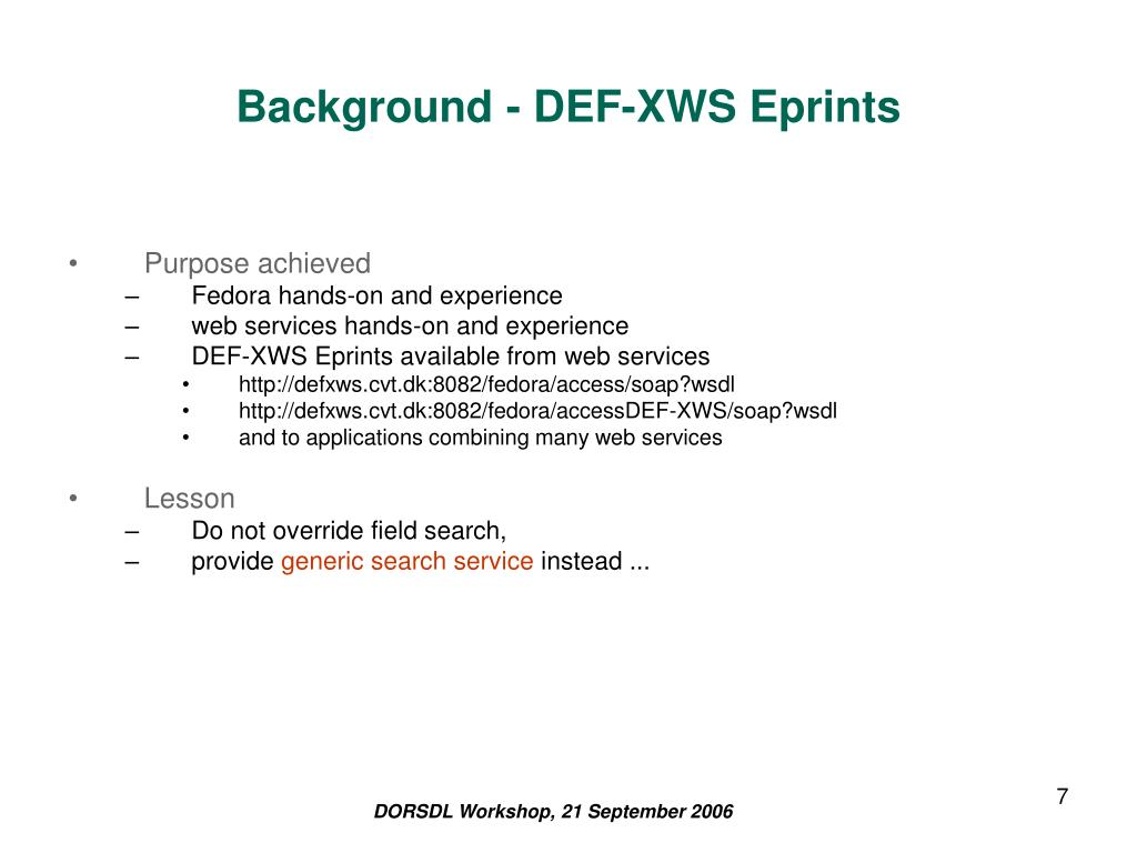 Background - DEF-XWS Eprints